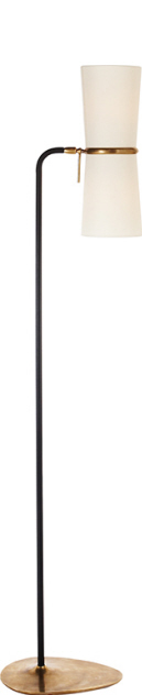"Clarkson Floor Lamp with Linen Shades   58""h   VCARN1003BLK -L"