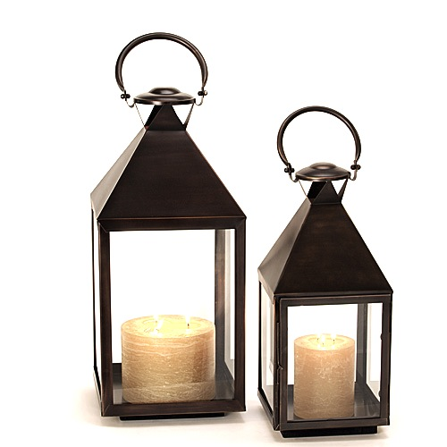 "Bronze Stainless Steel Lantern  9×27""h RO115177  12×32""h RO115174  Candles Sold Separately"