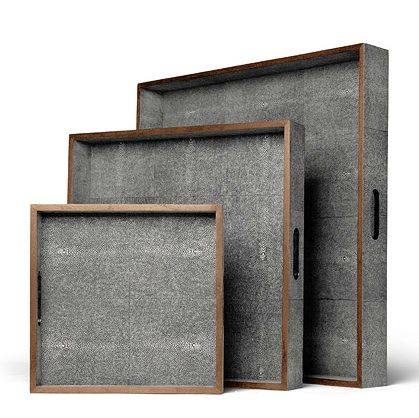 Faux Shagreen Tray With Wood Trim in Grey   12×12×2h   MGAMINAGS   18×18×3h   MGAMINAGM   24×24×4h   MGAMINAGL