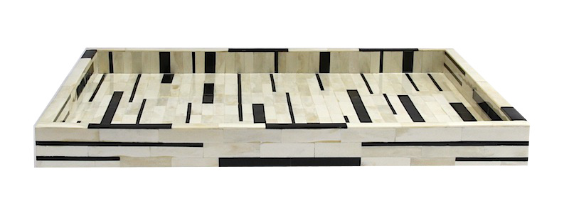 "Hitchcock Black and Ivory Striped Bone Tray   24×18×2""h   BIT721"