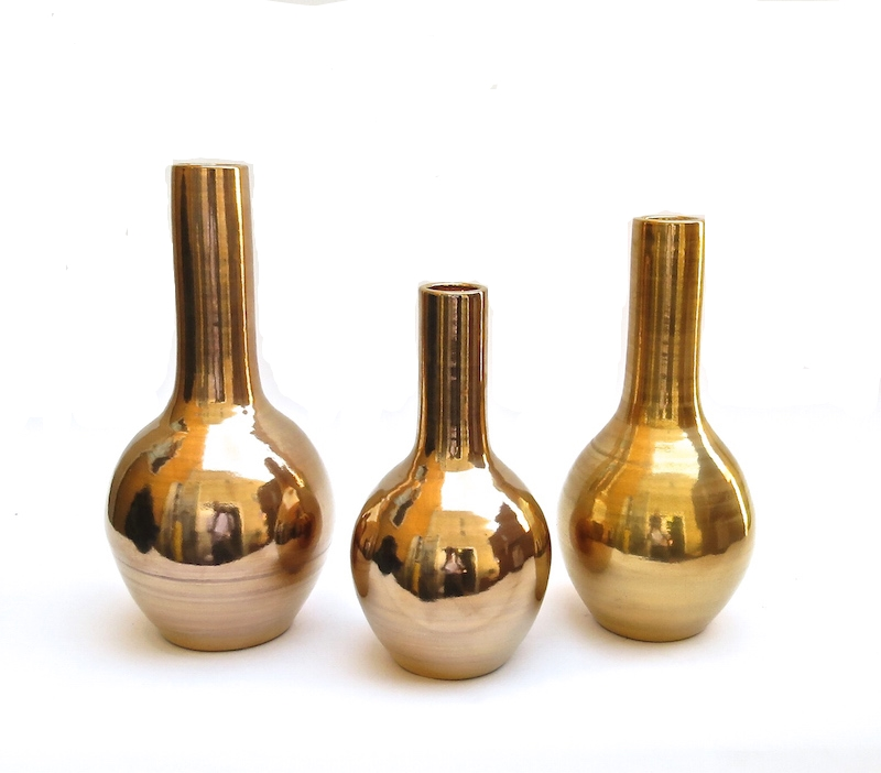RIYADH CERAMIC BULB VASE W 23K GOLD GLAZE
