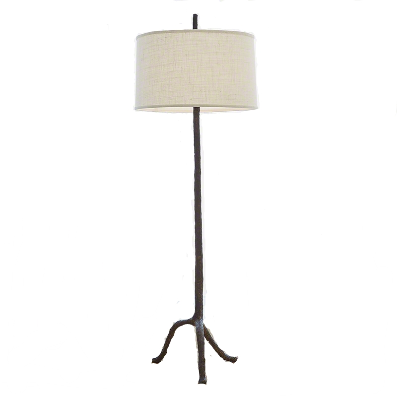 Walking Stick Floor Lamp with Woven Shade