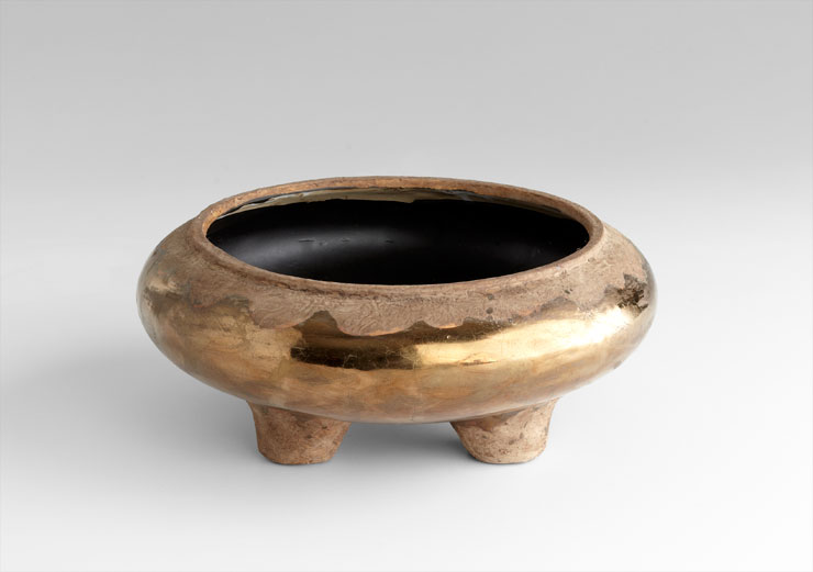 Ceramic Footed Planter w Bronze Glaze
