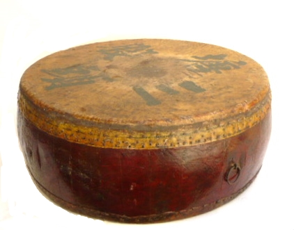 Antique Chinese Drum 19th C   24dx9.5h   AA129