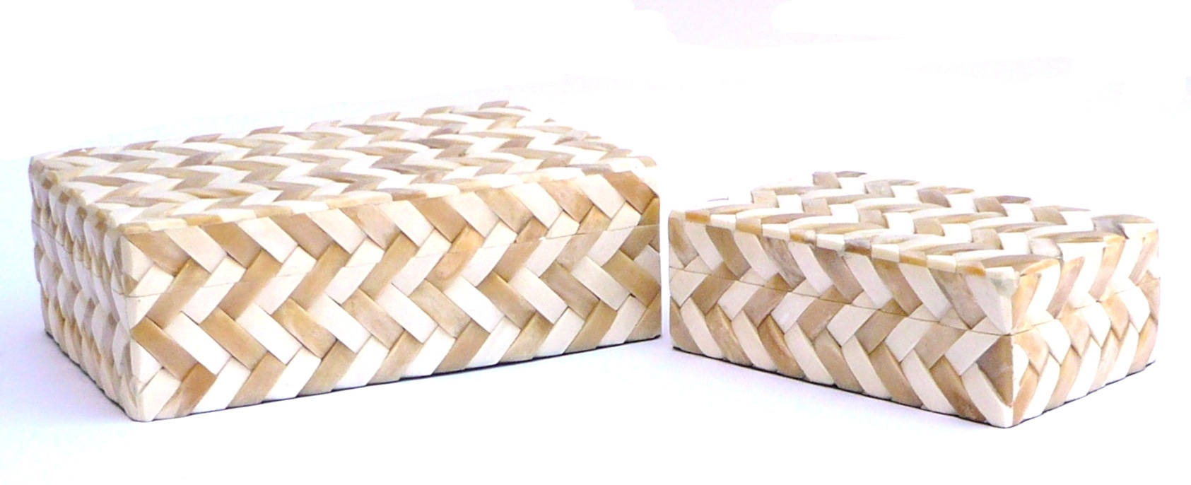 Two Tone Bone Weave Box     9×6x3h   BIT588S     8×12×4h   BIT588L