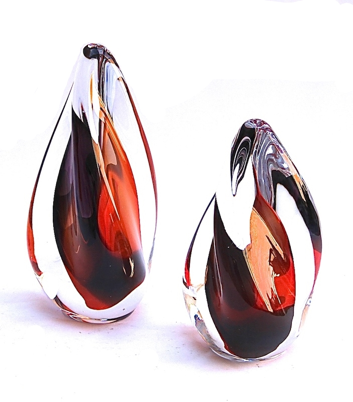"Murano Glass Twist Sculpture Red/Black     6×6x12""h   MB25112     6×6x9""h   MB25110"