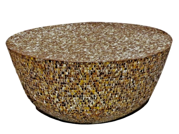Brown Mother of Pearl Table 41dx21h BIN842