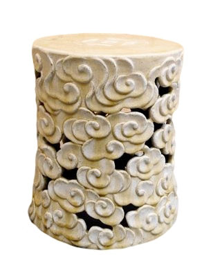 Ceramic White Cloud Garden Stool  13dx16h AA100