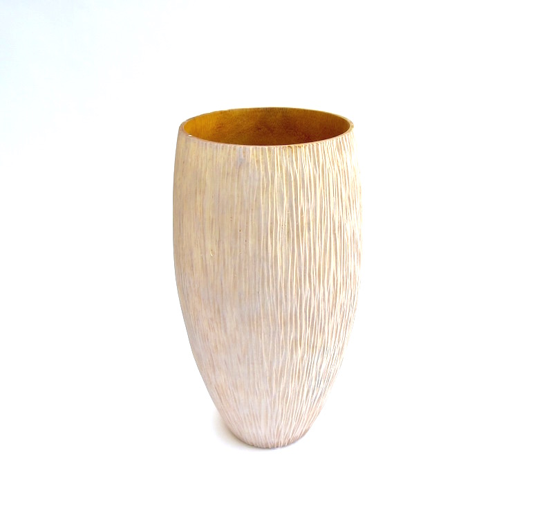 "Mango Wood Chiseled Vase in Whitewash  6x11""h  BUMVAS25"