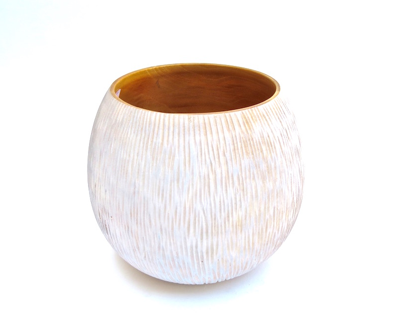 "Mango Wood Vertical Chiseled Vase in Whitewash  9x7.5""h  BUMVAS27"