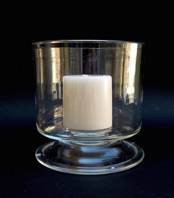 "Cylindric Footed Glass Hurricane  9dx9""h  EU1450158"
