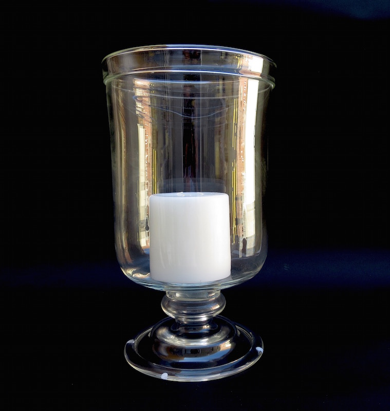 """Rolled Edge Tall Footed Glass Hurricane  12dx24""""h  EU1450177"""