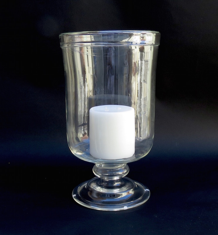 """Rolled Edge Tall Footed Glass Hurricane  10dx18""""h  EU1450172"""