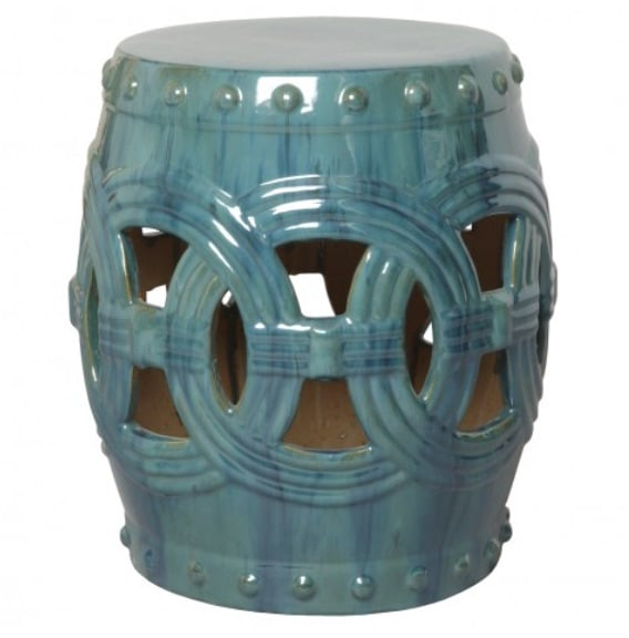 Linked Fortune Garden Stool, Blue Green   16dx19h   EY0936AG