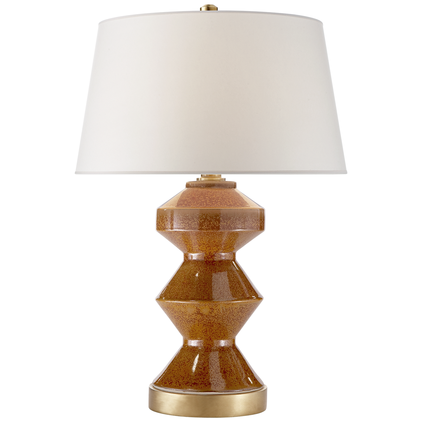 "Weller Zig-Zag Table Lamp, Shanghai Brown, w/ Natural paper shade  18.5""x20""h  VCCHA8666SHB-NP"