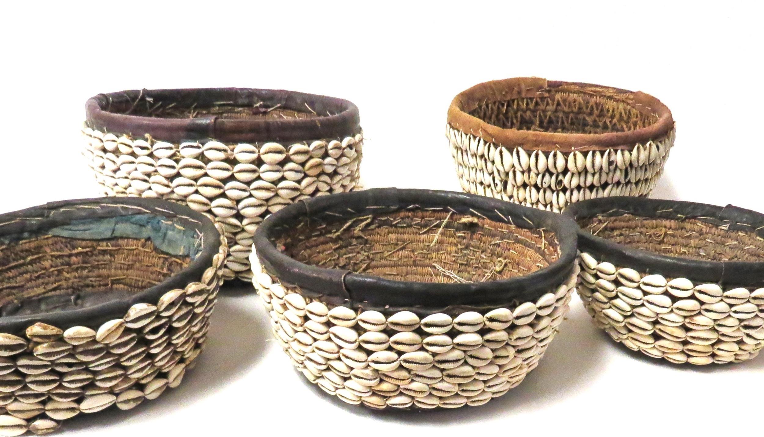 Shell/Leather Basket, Nigeria  AF021M  10dx4-6h  AF021ML  11.5dx7h