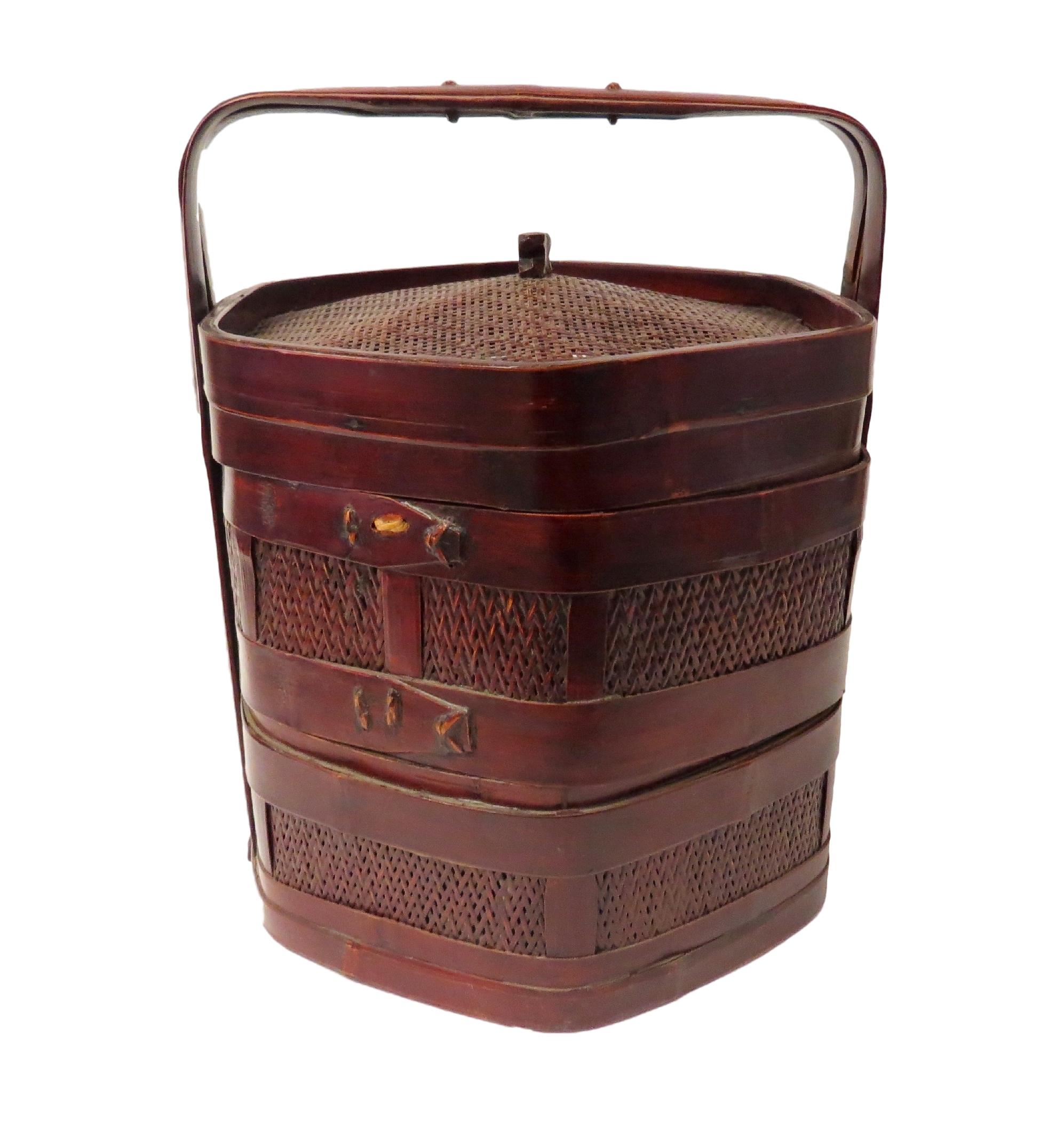 Vintage Chinese Hex 2-Tier Food Basket  16dx17h  OP207
