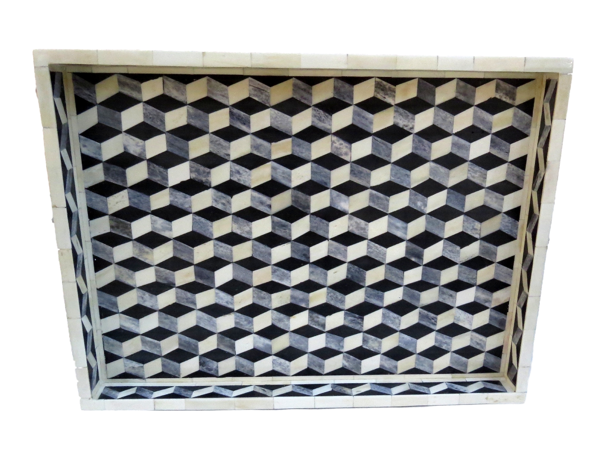"Grey Geometric Tray  BIW397  24x18x2""h"