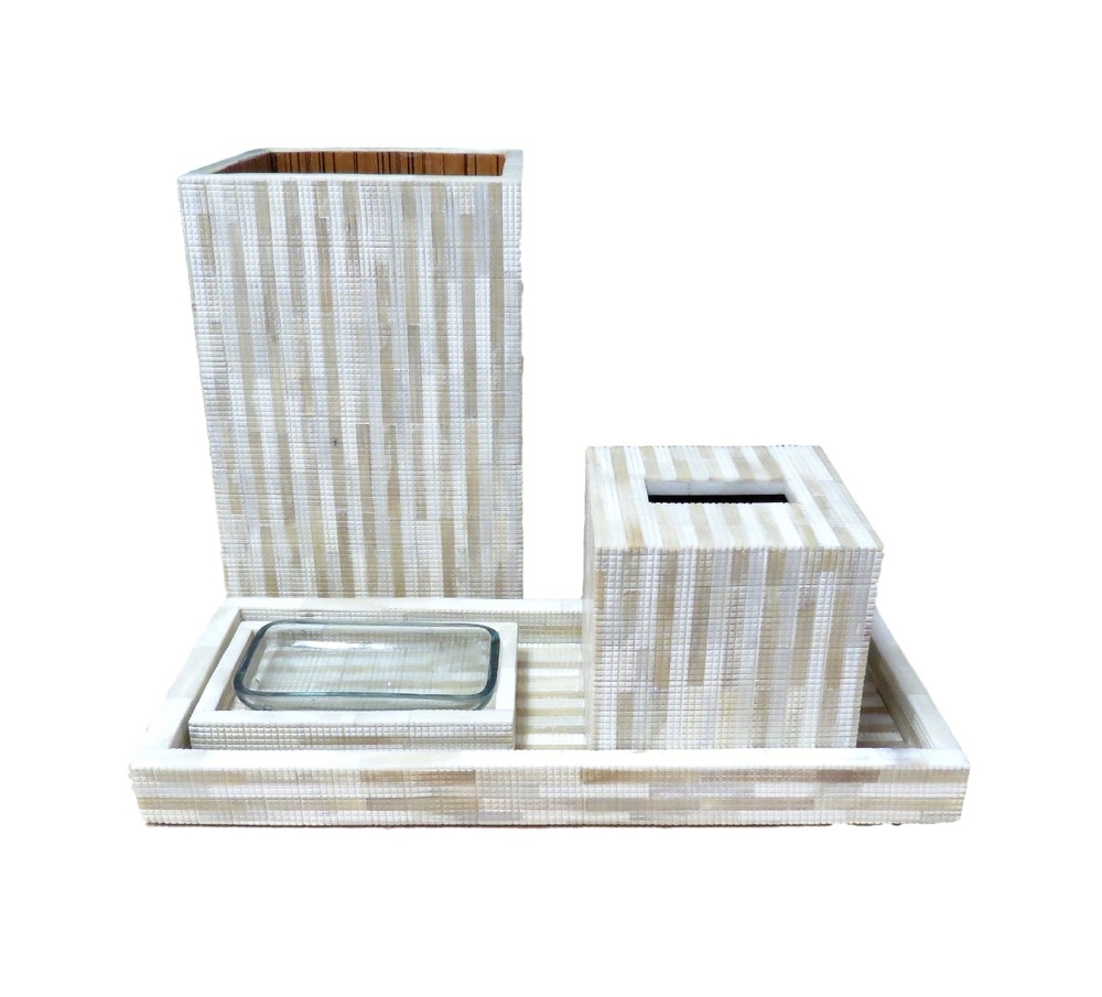 "Striped Bone Collection  Soap Dish   7x4.25x1.5""h   BIJ249D  Tissue Box   5.5x5.5x5.5""h   BIJ249B  Wastebasket   8x8x12""h   BIJ249A"