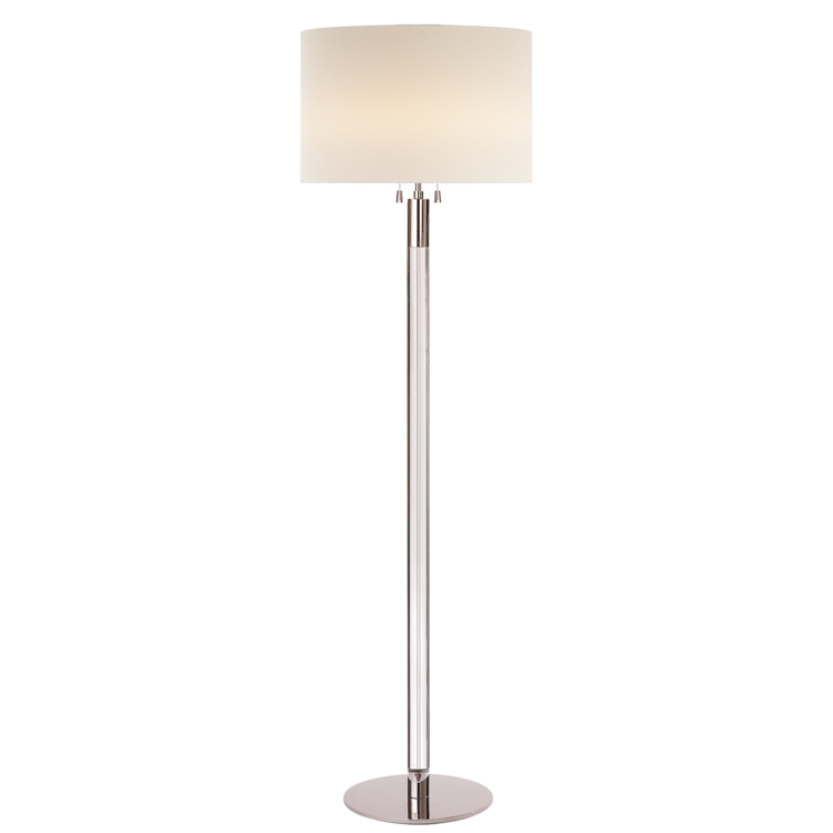 "Riga Floor Lamp in Polished Nickel/Crystal w/ linen shade  20dx60""h  VCARN1005PN-L"