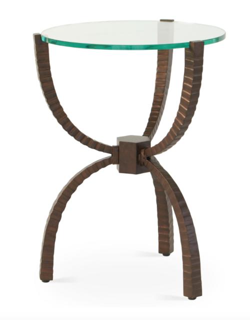 """Bronze Teton Table, Iron/Glass  18x 23.5""""H  GV7.90385"""