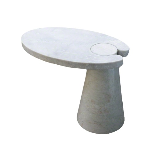 White Marble Cone Cantilever Table  29.5x18x22h  GV9.92390