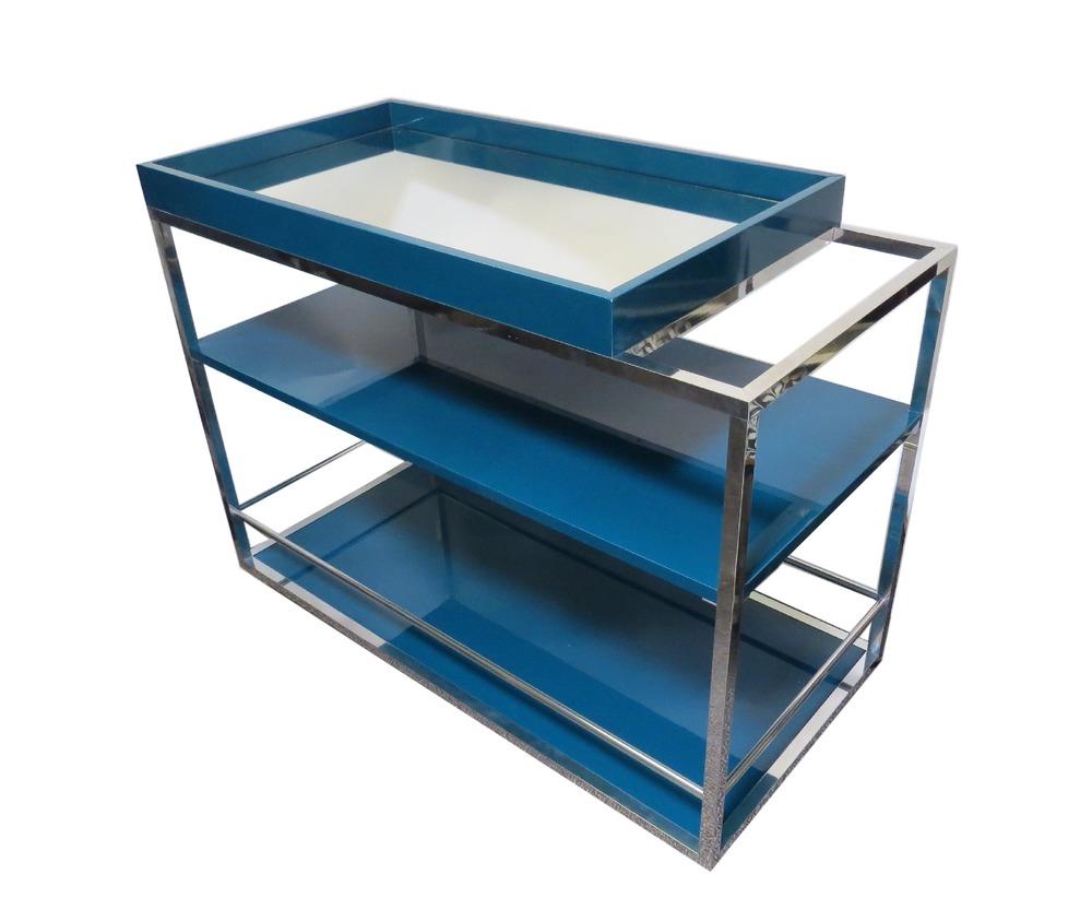 Cube Bar Cart, Lacquered Wood/Mirror, Petrol  39.5x19x30h  RLBC002PE