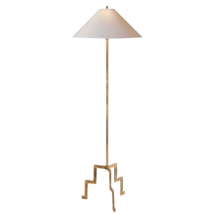 "Lancaster Floor Lamp in Gilded Iron w/ Natural Paper Shade  23X64""h  VCSP1000GI-NP"