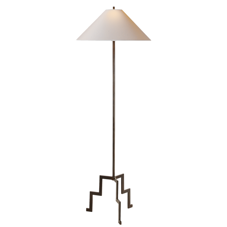 "Lancaster Floor Lamp in Aged Iron w/ Natural Paper Shade  23X64""h  VCSP1000AI-NP"