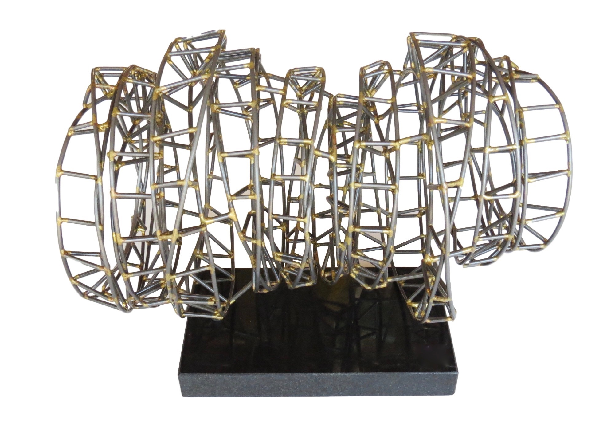 Iron/Brass/Granite Helix Sculpture  14x9x10h  GV7.90581