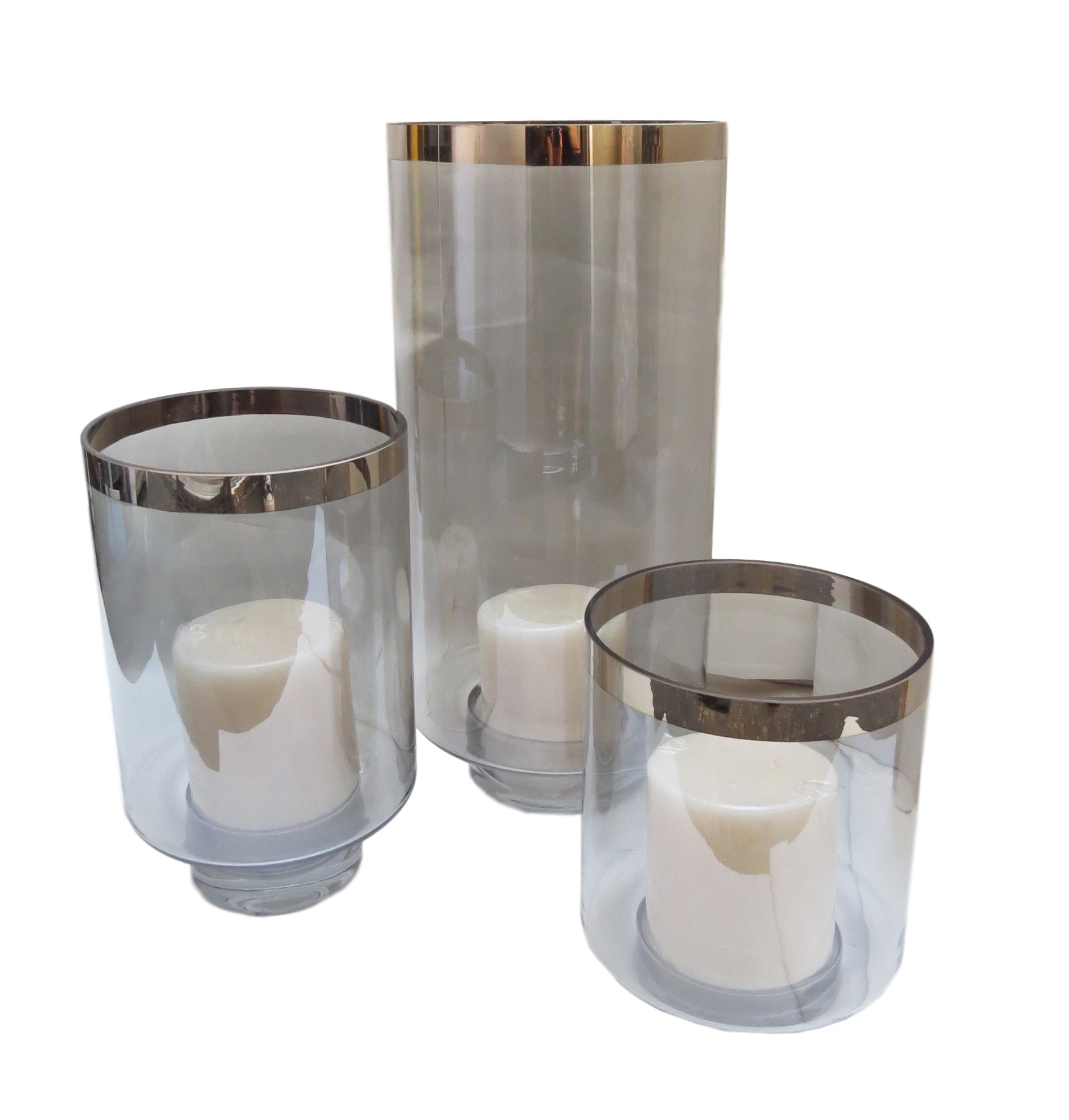 "Twilight Glass Hurricane  GV6.60248  10dx22""h  GV6.60249  8.5dx14.5""h  GV6.6063  8.5dx10""h  Candles Sold Separately"