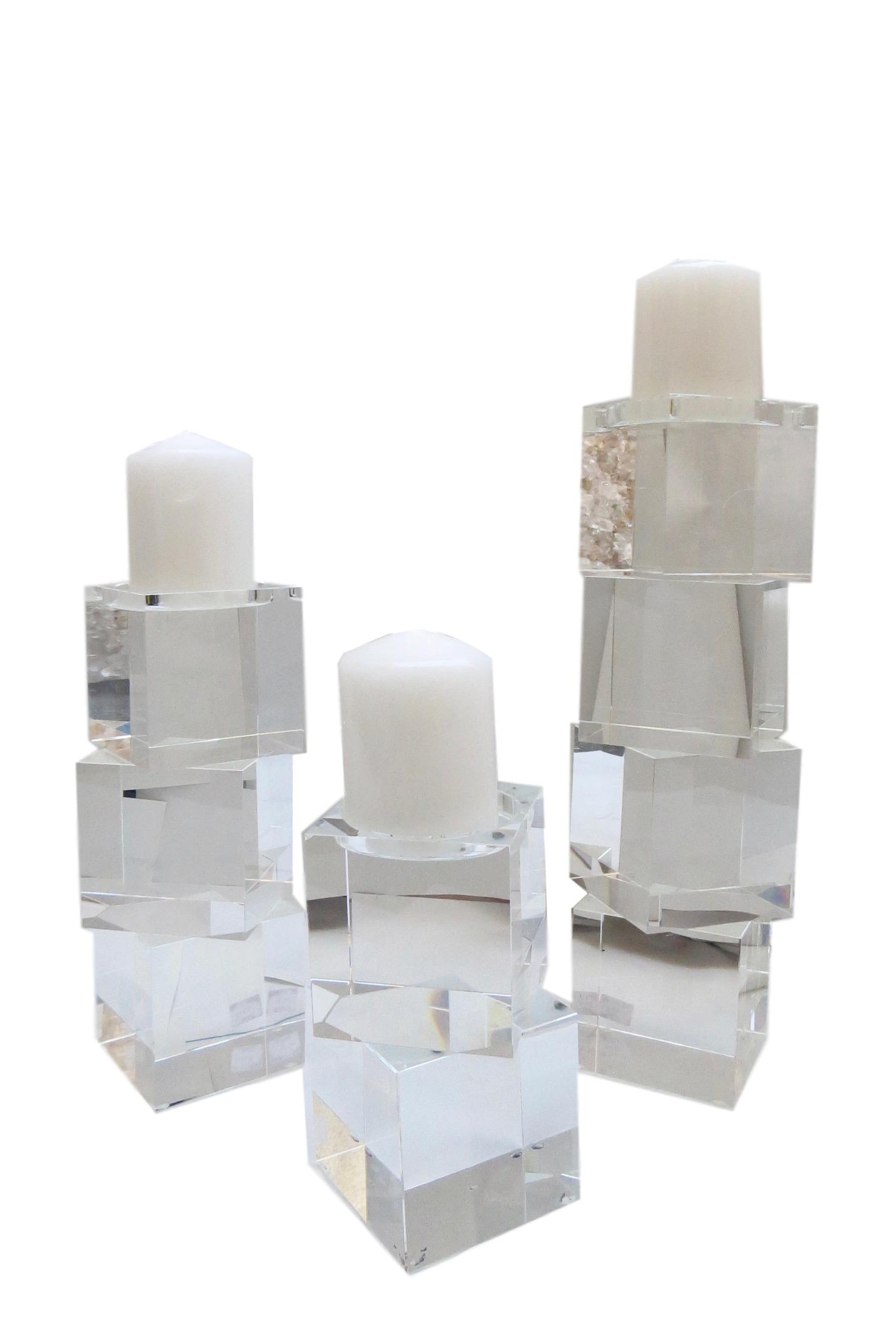 """Crystal Quad Cube Candlestand  GV8.81270  4x4x16""""h  GV8.81379  4x4x12""""h  GV8.81380  4x4x8h"""