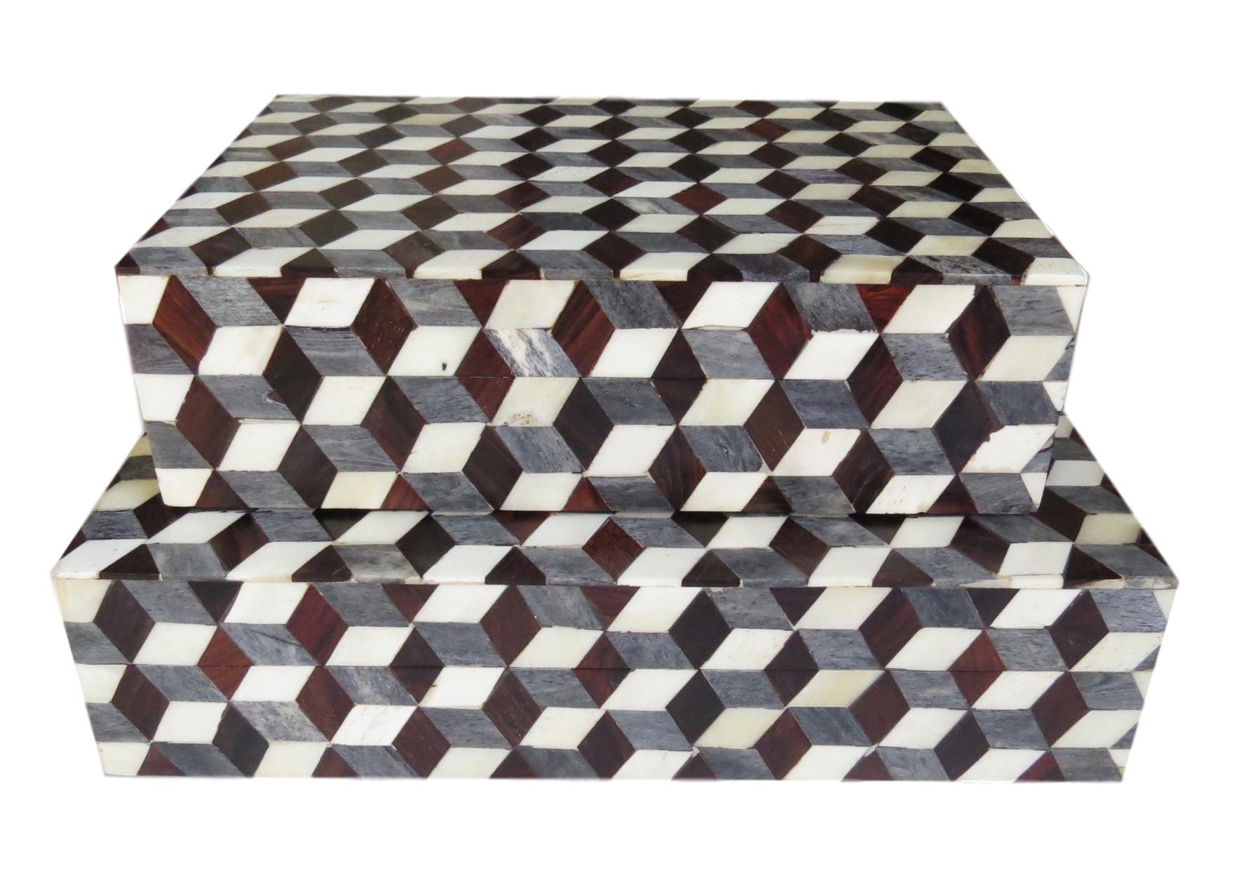 """Geo Cube Bone Box  BIJ223S  10x7x3""""h  BIJ223L  12x9x3""""h"""