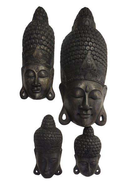 Carved Buddha face, Indonesia  QI11  8x4x15h  QI110  12x8x35h +/-  QI109  18x10x40h