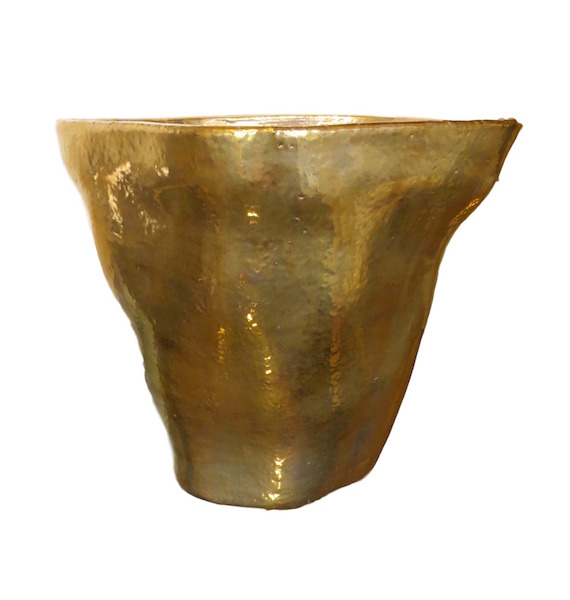 "Large Modern Organic Planter With 23K Gold Glaze  15.5dx13""h +/-  EUHV1522EG"