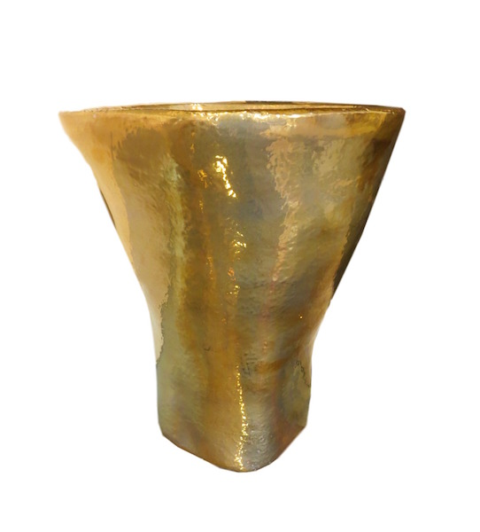 "XL Modern Organic Planter w 23K Gold Glaze, 1  4.5dx16""h  EUHV1523EG  Available With Platinum Glaze"