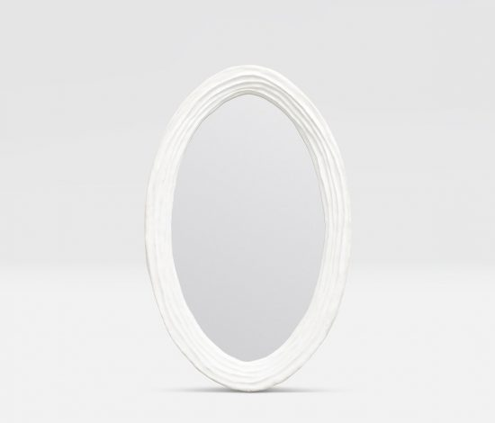 Oval White Resin Mirror  30x47  MGHETW3047