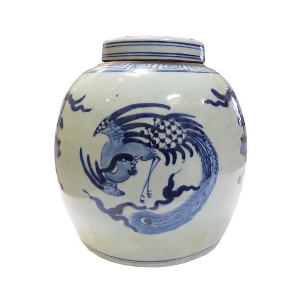 Blue & White Porcelain Ginger Jar  10dx12h  OP055C