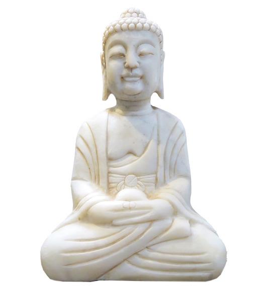 White Marble Sitting Buddha  11x4x16h  OP242