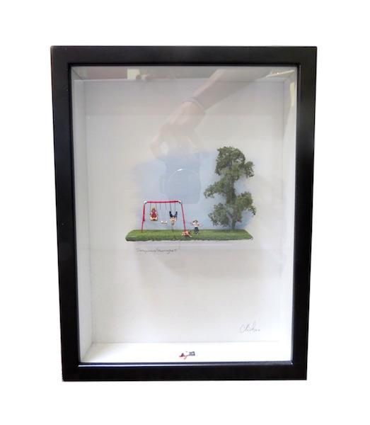 "C. Schukow,""Dangerous Swing Set""  Diorama 10x13x2.5""  CX002"