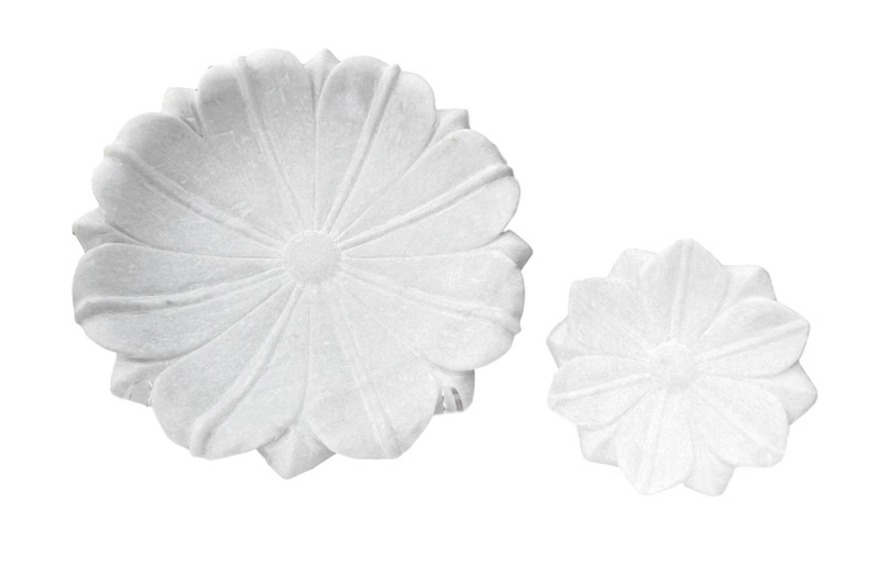 Carved White Marble Flower Dish  CD7155  11.5dx3h  CD7154  6dx1.5h