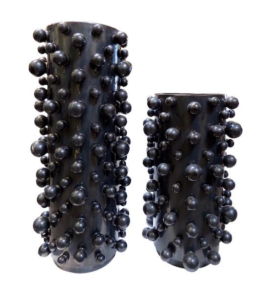 Ceramic Molecule Cylinder Vase, Graphite  GV7.80418  8dx19h  GV7.80418  8dx19h