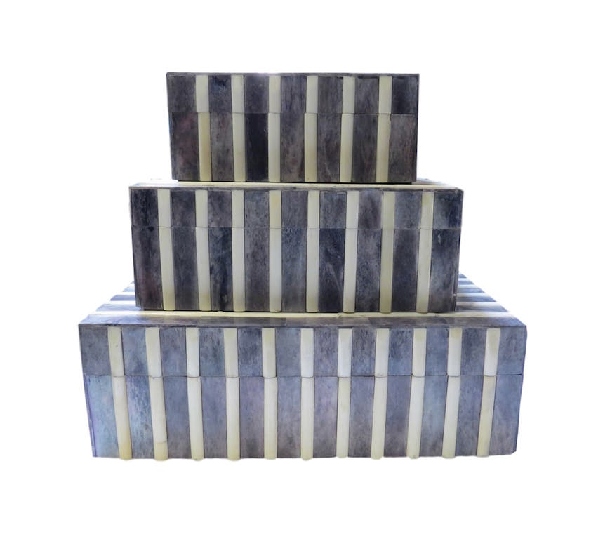 "Ribbed Gray and Natural Bone Box  BIW722S  5x7x3""h  BIW722M  9x7x3.5""h  BIW722L  12x10x4""h"