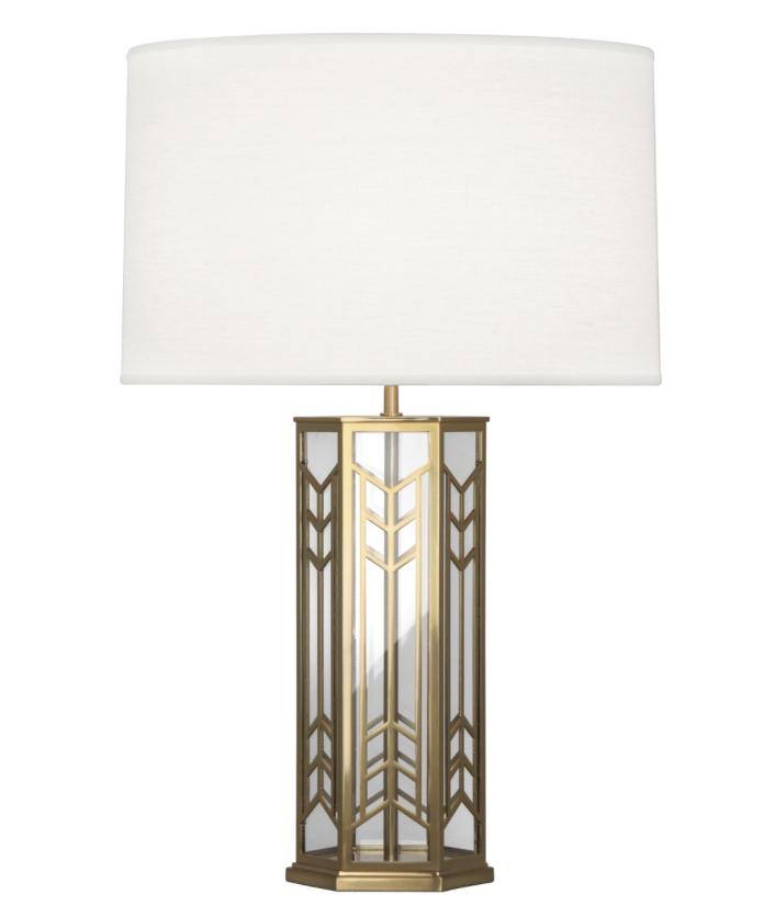 Octavious Lamp, Brass/Glass w/Linen Shade  18dx29h  RA3386