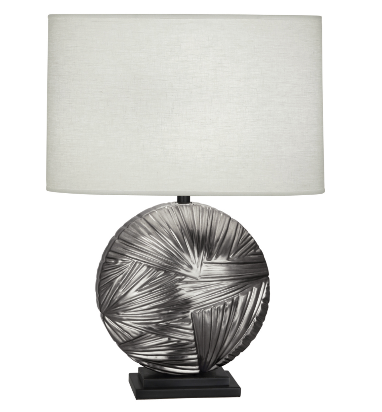 Frank Table Lamp, Blackened Antique Silver Finish w/Linen Shade  2w x 28.5h  RA2027