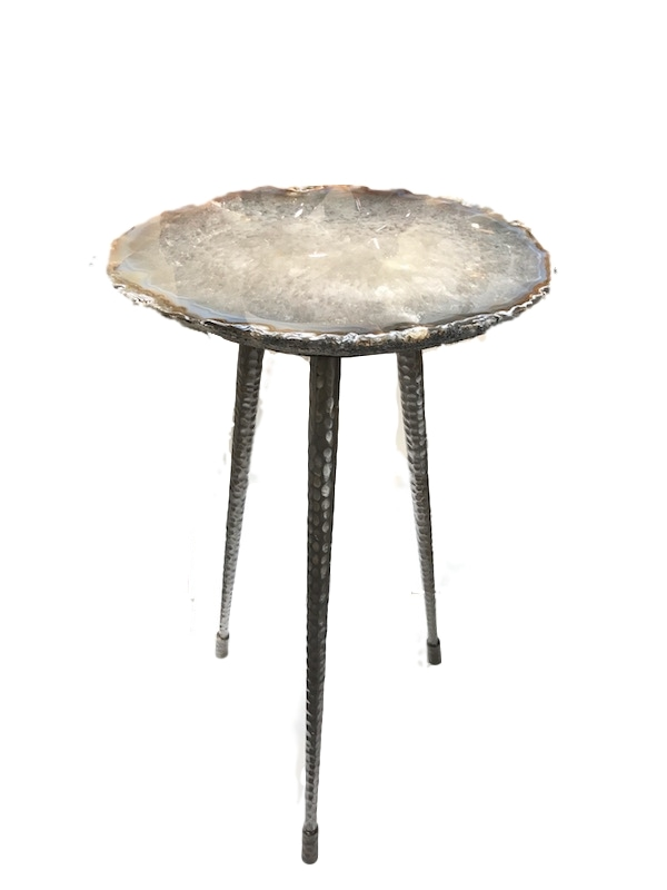 Grey Agate Tripod Table  Tapered Round Hand Hamered Legs, Gunmetal/Bronze Feet  15x14x24h,  VO517AA