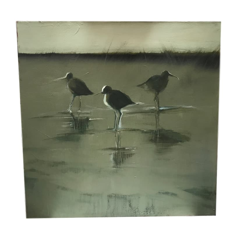 "Nancy Crawford ""Sandpipers,"" Oil on Canvas  24"" x 24"""