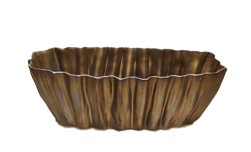 Fluted Ceramic Planter, Gold/Bronze  16x7x8h  EU146022B