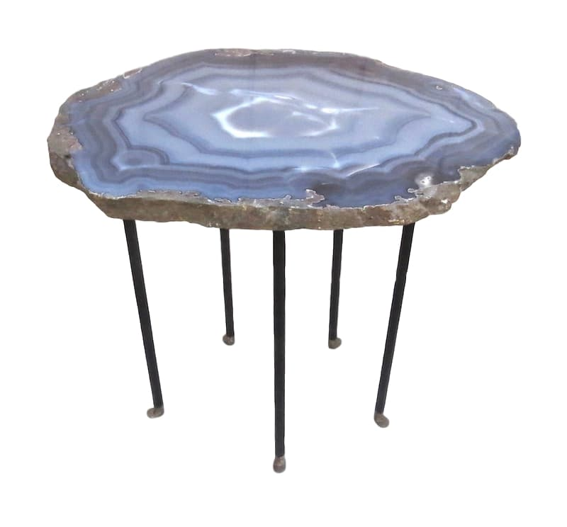 Blue Grey Agate/Steel Side Table, 5 Skinny/Textured Legs w/Boots  24x19x22h  VO525AA