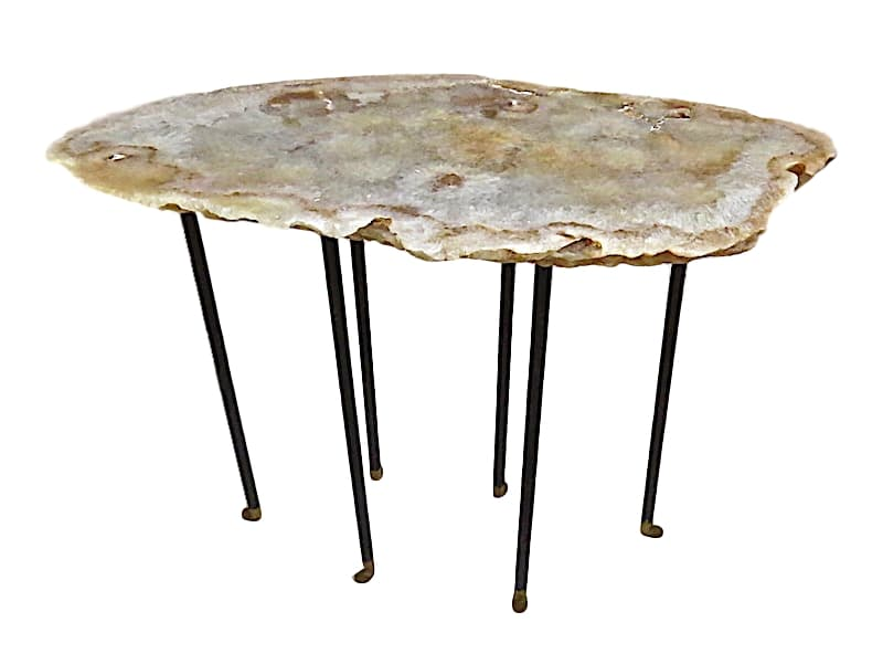 Sherbert Agate/Steel Side Table, 6 Textured/Skinny Legs w/Boots   29x16x22h  VO524AA